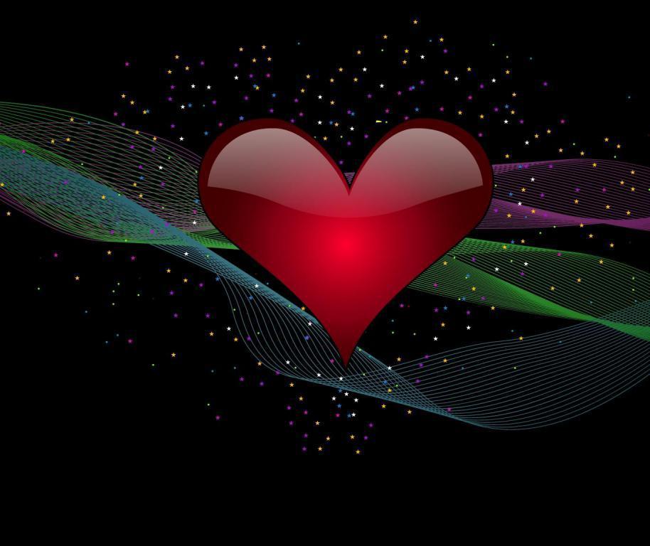 Сердце на черном фоне в линиях